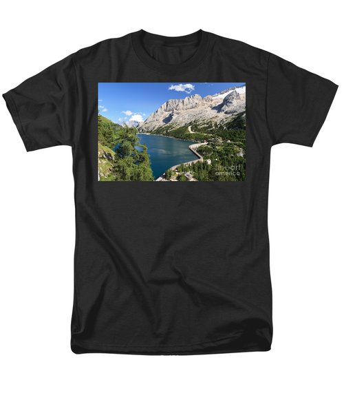 Men's T-Shirt  (Regular Fit) featuring the photograph Fedaia Pass With Lake by Antonio Scarpi