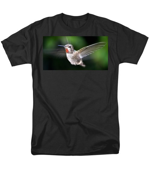 Men's T-Shirt  (Regular Fit) featuring the photograph Female Caliope Hummingbird In Flight by Jay Milo
