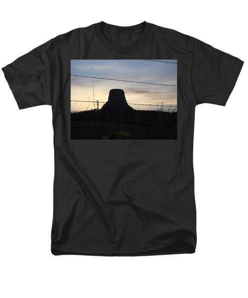 Men's T-Shirt  (Regular Fit) featuring the photograph Fencing Devil's Tower by Cathy Anderson