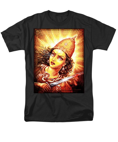 Men's T-Shirt  (Regular Fit) featuring the mixed media Fighting Goddess by Ananda Vdovic
