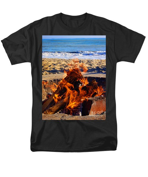 Men's T-Shirt  (Regular Fit) featuring the photograph Fire At The Beach by Mariola Bitner