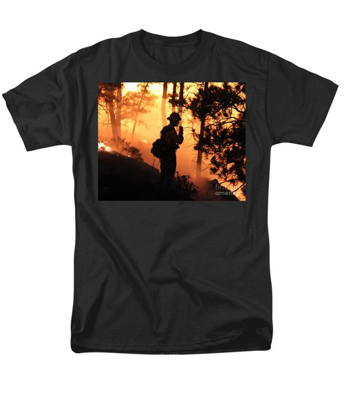 Men's T-Shirt  (Regular Fit) featuring the photograph Firefighter At Night On The White Draw Fire by Bill Gabbert