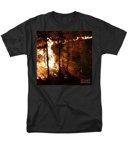 Men's T-Shirt  (Regular Fit) featuring the photograph Firefighters Burn Out On The White Draw Fire by Bill Gabbert