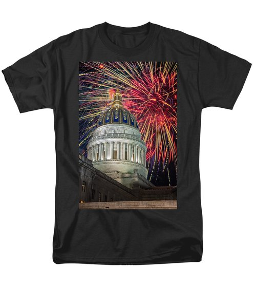 Fireworks At Wv Capitol Men's T-Shirt  (Regular Fit) by Mary Almond