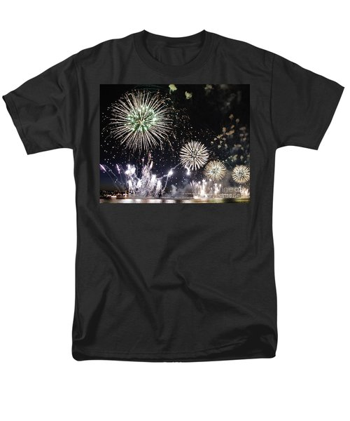 Men's T-Shirt  (Regular Fit) featuring the photograph Fireworks Over The Hudson River by Lilliana Mendez