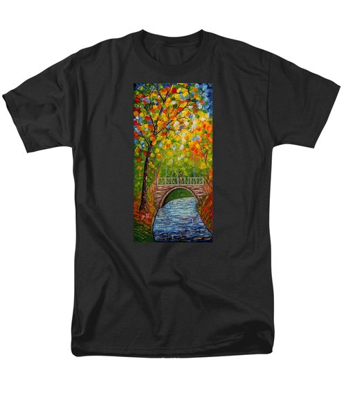 Men's T-Shirt  (Regular Fit) featuring the painting First Kiss On The Bridge Original Acrylic Palette Knife Painting by Georgeta Blanaru