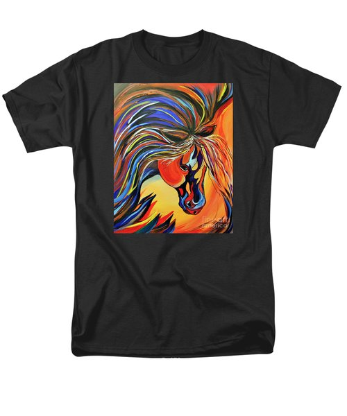 Men's T-Shirt  (Regular Fit) featuring the painting Flame Bold And Colorful War Horse by Janice Rae Pariza