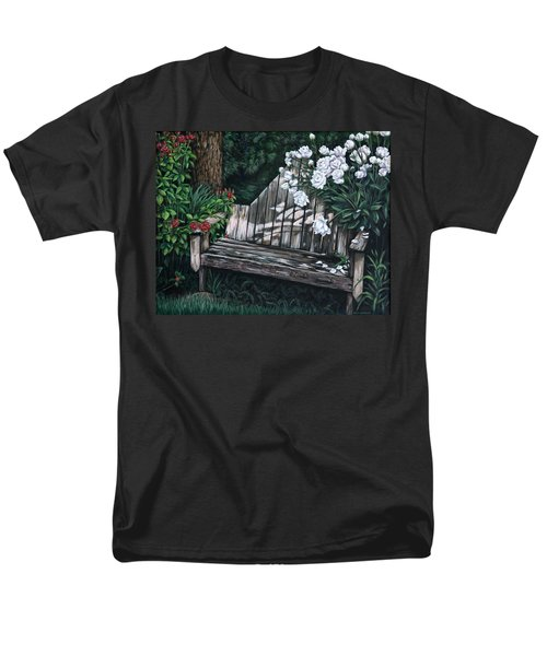 Men's T-Shirt  (Regular Fit) featuring the painting Flower Garden Seat by Penny Birch-Williams