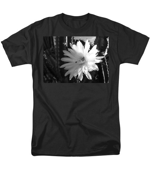 Men's T-Shirt  (Regular Fit) featuring the photograph Flowering Cactus 1 Bw by Mariusz Kula
