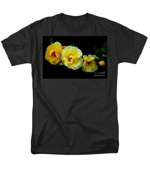 Men's T-Shirt  (Regular Fit) featuring the photograph Four Stages Of Bloom Of A Yellow Rose by Janette Boyd