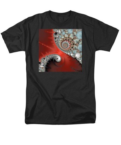 Fractal Spiral Art Red Grey And Light Blue Men's T-Shirt  (Regular Fit) by Matthias Hauser