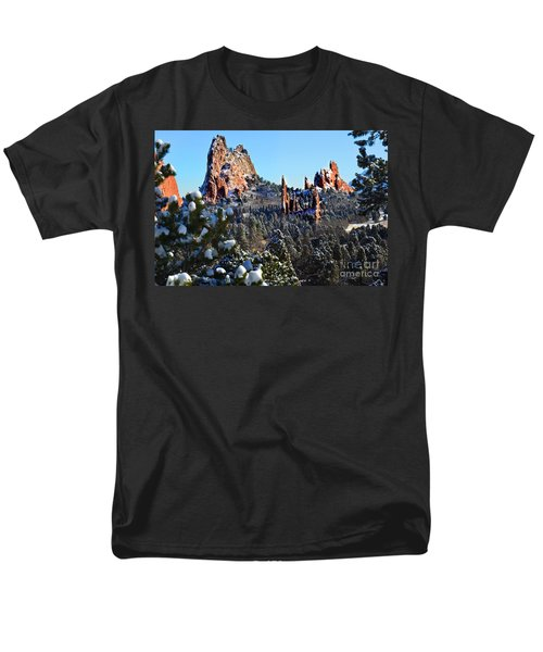 Men's T-Shirt  (Regular Fit) featuring the photograph Garden Of The Gods After Snow Colorado Landscape by Jon Holiday