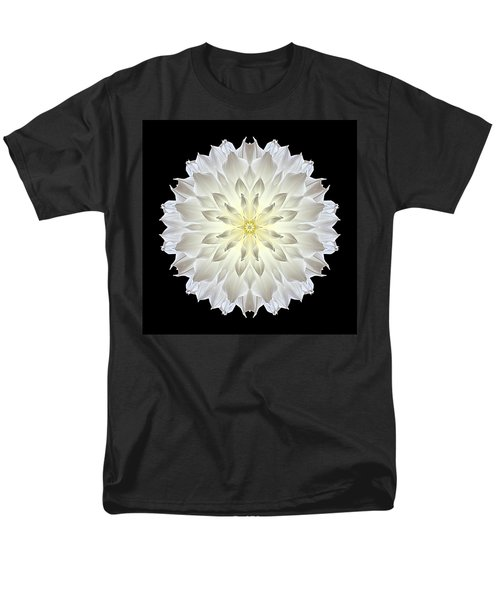 Giant White Dahlia Flower Mandala Men's T-Shirt  (Regular Fit)