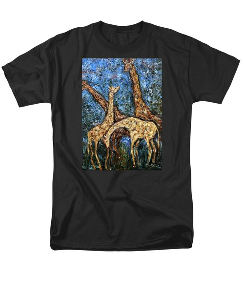 Men's T-Shirt  (Regular Fit) featuring the painting Giraffe Family by Xueling Zou