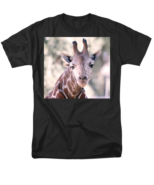 Men's T-Shirt  (Regular Fit) featuring the pyrography Giraffe Staring  by Shoal Hollingsworth