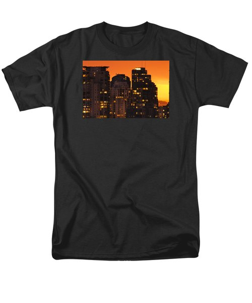 Men's T-Shirt  (Regular Fit) featuring the photograph Golden Orange Cityscape Dccc by Amyn Nasser