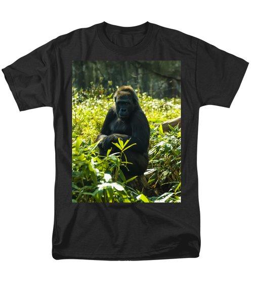 Gorilla Sitting On A Stump Men's T-Shirt  (Regular Fit) by Chris Flees