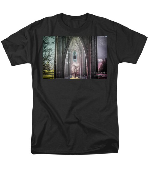 Gothic Arches Hands Folded In Prayer Men's T-Shirt  (Regular Fit) by Patricia Babbitt