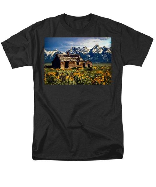Men's T-Shirt  (Regular Fit) featuring the photograph Grand Tetons Cabin by John Haldane