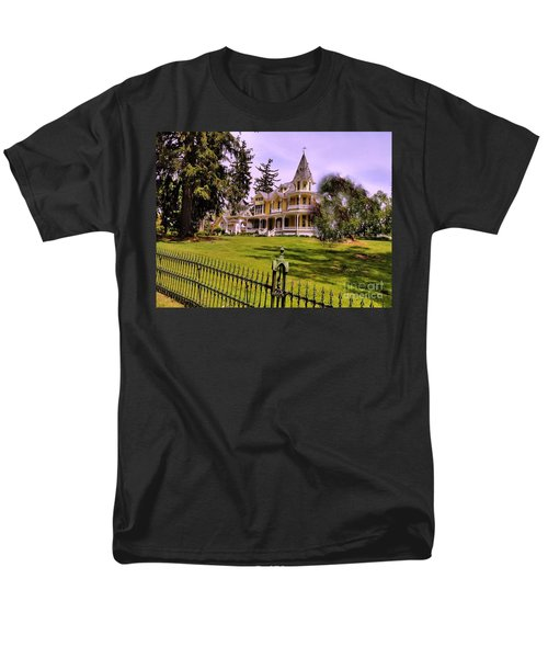 Men's T-Shirt  (Regular Fit) featuring the photograph Grand Yellow Victorian And Gate by Becky Lupe