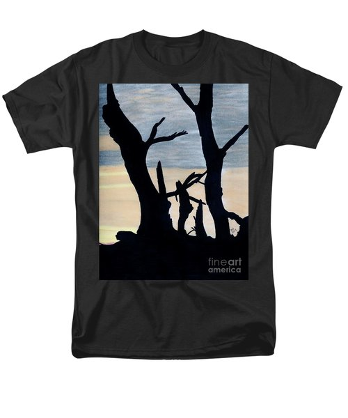 Men's T-Shirt  (Regular Fit) featuring the drawing Gray Sunset by D Hackett