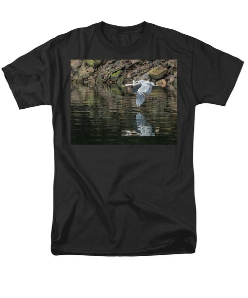 Men's T-Shirt  (Regular Fit) featuring the photograph Great Blue Heron Reflections by Jennifer Casey