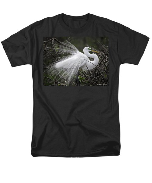 Great Egret Preening Men's T-Shirt  (Regular Fit) by Fran Gallogly