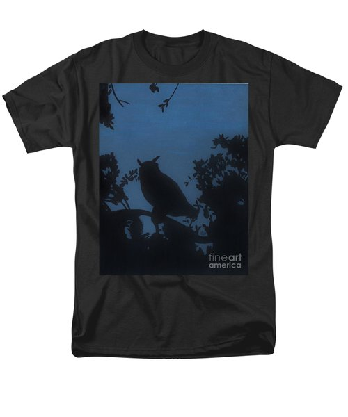 Men's T-Shirt  (Regular Fit) featuring the drawing Owl At Night by D Hackett