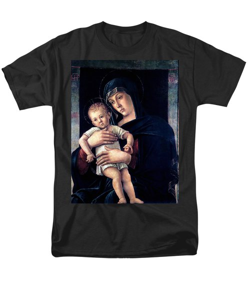Men's T-Shirt  (Regular Fit) featuring the painting Greek Madonna With Child 1464 Giovanni Bellini by Karon Melillo DeVega