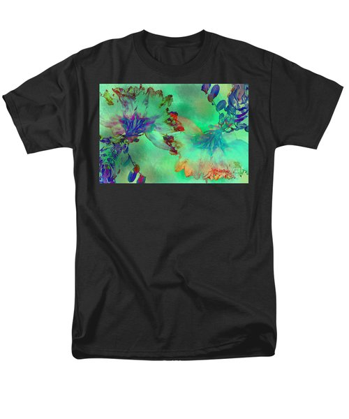 Green Hibiscus Mural Wall Men's T-Shirt  (Regular Fit) by Claudia Ellis