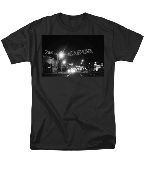 Greetings From Asbury Park New Jersey Black And White Men's T-Shirt  (Regular Fit) by Terry DeLuco