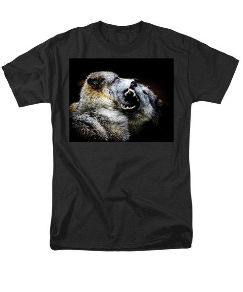 Grey Wolf Fight Men's T-Shirt  (Regular Fit) by Steve McKinzie