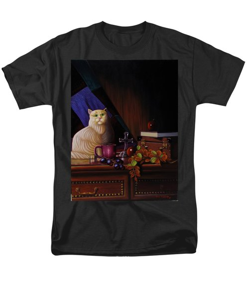 Men's T-Shirt  (Regular Fit) featuring the painting Grumpy Cat by Gene Gregory
