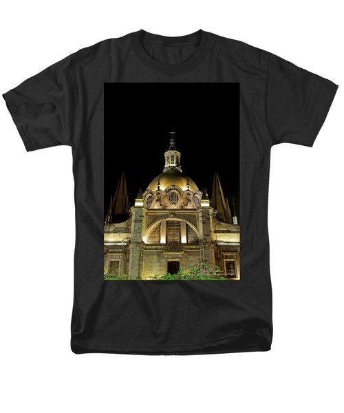 Men's T-Shirt  (Regular Fit) featuring the photograph Guadalajara Cathedral At Night by David Perry Lawrence