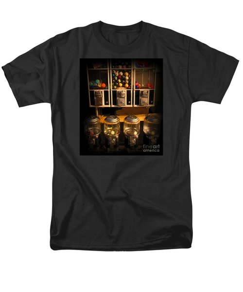 Gumball Memories - Row Of Antique Vintage Vending Machines - Iconic New York City Men's T-Shirt  (Regular Fit) by Miriam Danar