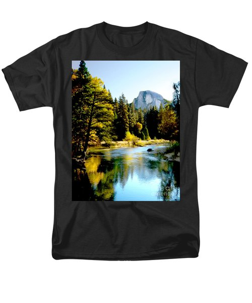 Half Dome Yosemite River Valley Men's T-Shirt  (Regular Fit) by Bob and Nadine Johnston
