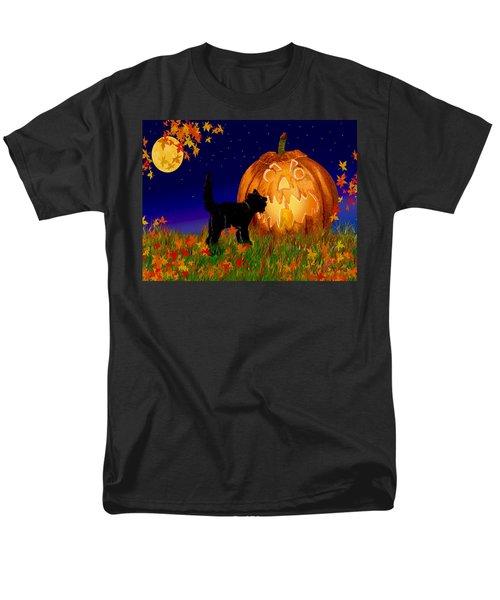 Halloween Black Cat Meets The Giant Pumpkin Men's T-Shirt  (Regular Fit) by Michele Avanti