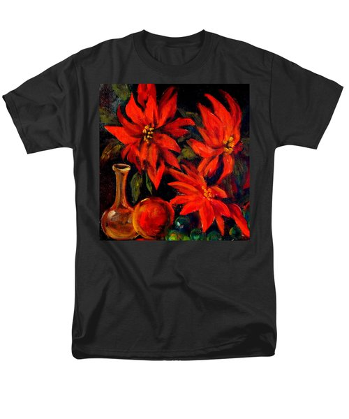 New Orleans Red Poinsettia Oil Painting Men's T-Shirt  (Regular Fit) by Michael Hoard