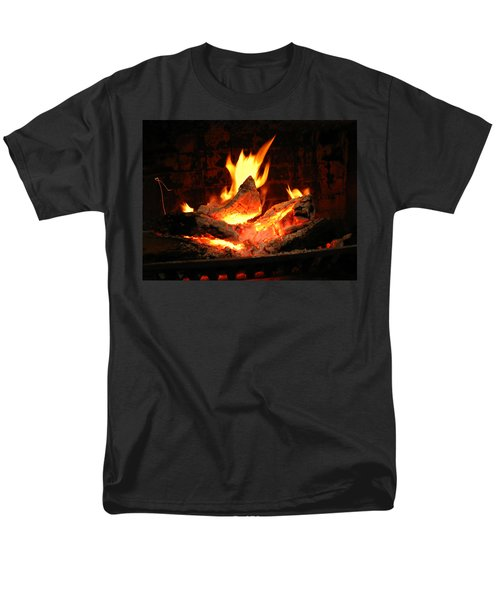 Men's T-Shirt  (Regular Fit) featuring the photograph Heart-shaped Ember In Roaring Fire by Connie Fox