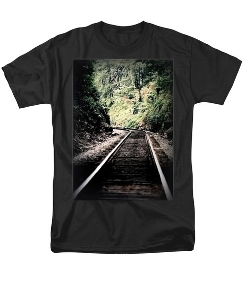 Hegia Burrow Railroad Tracks  Men's T-Shirt  (Regular Fit) by Lesa Fine