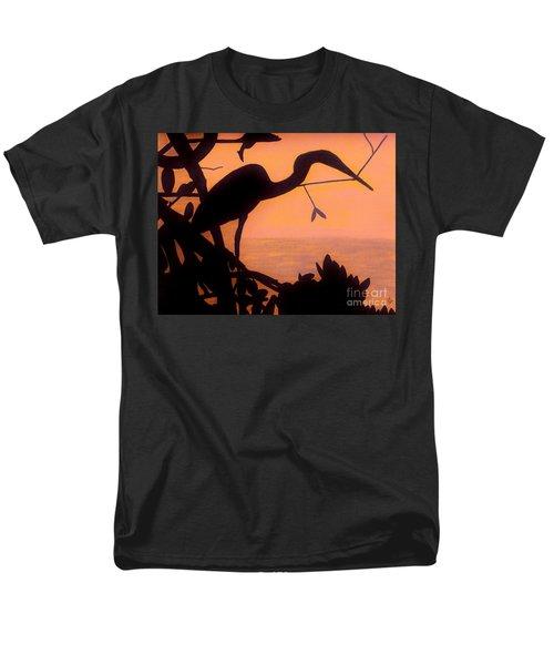 Men's T-Shirt  (Regular Fit) featuring the drawing Heron Sunset by D Hackett