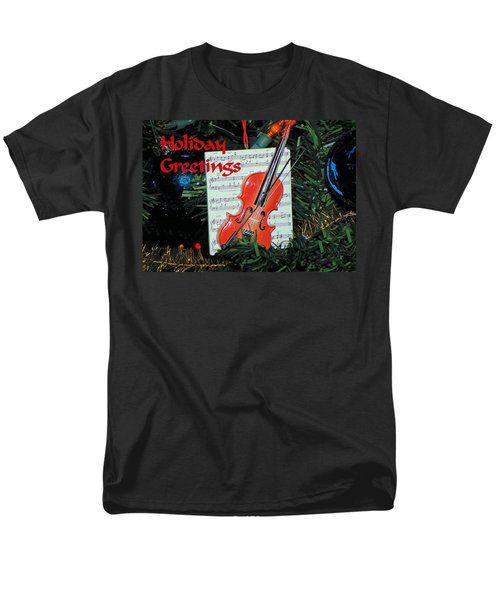 Holiday Greetings With Violin Men's T-Shirt  (Regular Fit) by Rosalie Scanlon
