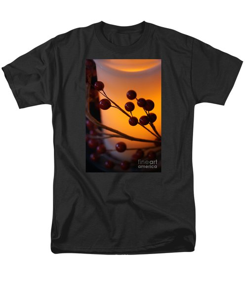 Men's T-Shirt  (Regular Fit) featuring the photograph Holiday Warmth By Candlelight 1 by Linda Shafer