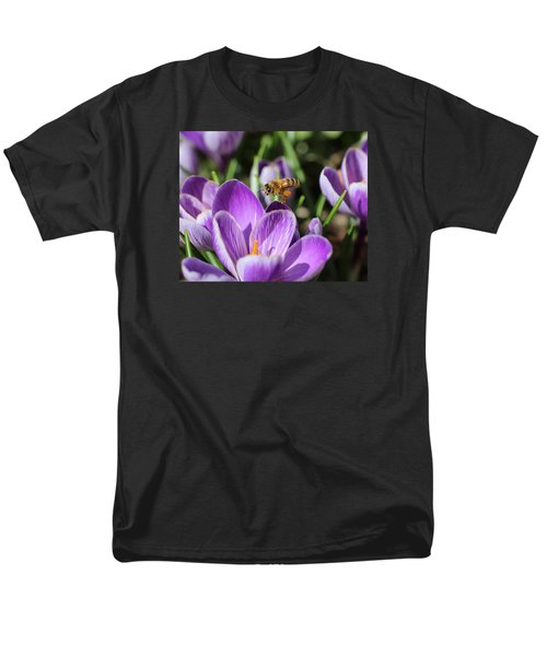 Honeybee Flying Over Crocus Men's T-Shirt  (Regular Fit) by Lucinda VanVleck