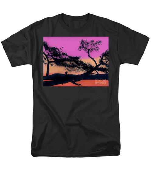 Men's T-Shirt  (Regular Fit) featuring the drawing Hot Pink Sunset by D Hackett