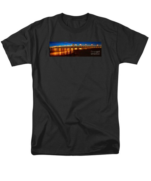 Men's T-Shirt  (Regular Fit) featuring the photograph Huntington Beach Pier Twilight Panoramic by Jim Carrell