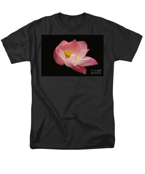 Indian Lotus On Black --- Sacred Light Men's T-Shirt  (Regular Fit) by Byron Varvarigos