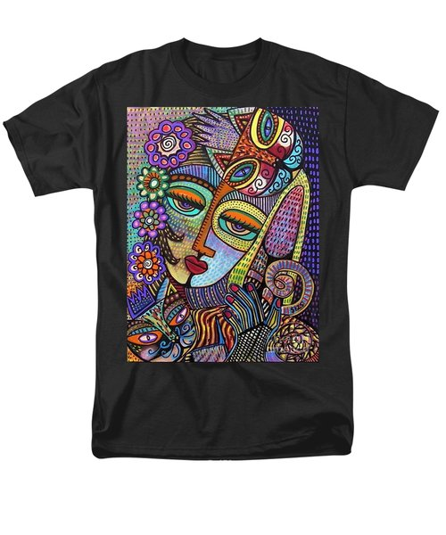 Indigo Tapastry Royal Cats Men's T-Shirt  (Regular Fit) by Sandra Silberzweig