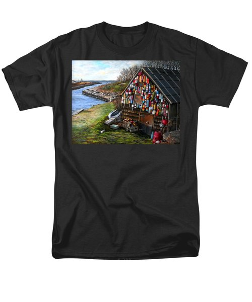Ipswich Bay Wooden Buoys Men's T-Shirt  (Regular Fit) by Eileen Patten Oliver