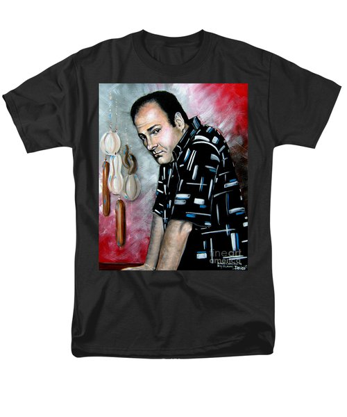 Men's T-Shirt  (Regular Fit) featuring the painting James Gandolfini As Tony Soprano by Patrice Torrillo